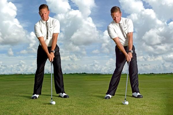 背骨をやや後方に傾け、前側の足を開く。ダ