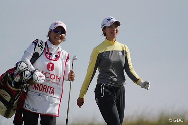 2014年 全英リコー女子オープン 3日目 森田理香子 今週初めてのアンダーパー。20位タイに浮上した森田理香子は笑顔を見せた(「Pentax K-3」にて撮影)