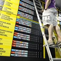 メディアセンターでは、試合中に選手のスコアがどんどんアップされます。 2014年 全英オープン 初日 メディアセンター内のスコアボード