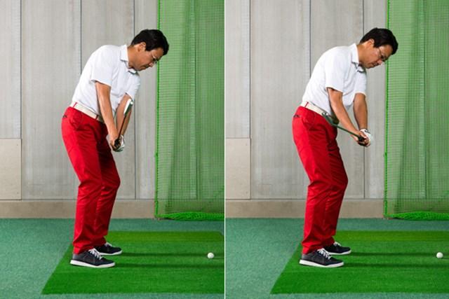 左画像に比べ、右の画像は左手が浮き上がり、体から離れています。この動きが原因でクラブがプレーンからイン側に外れてしまう