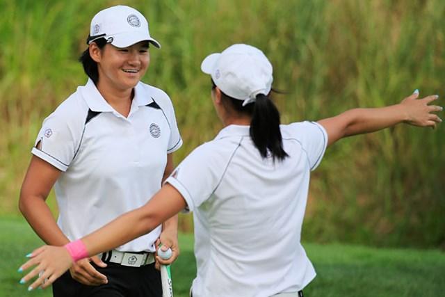 最終ホールで勝負強くバーディパットをねじ込んだヤニ・ツェン。かつて女子ゴルフ界に君臨した女王の片鱗を感じさせた(Rob Carr/Getty Images)