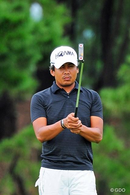 2014年 アールズエバーラスティングKBCオーガスタゴルフトーナメント  2日目 J.パグンサン 私の担当試合では、結構上位に来てはるフィリピーノ。マガンダン・ハポ~!7位T