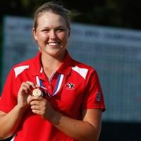 世界アマチュアランクで2位につけるヘンダーソンは、今年6月の「全米女子オープン」でローアマ(10位タイ)を獲得。この日は6アンダーをマークし、カナダチームを牽引した(Scott Halleran/Getty Images) 2014年 世界女子アマチュアチーム選手権 初日 ブルックス・ヘンダーソン