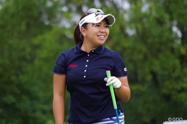 2014年 ゴルフ5レディスプロゴルフトーナメント 事前 吉田弓美子 この日のプロアマトーナメントでは終始、笑顔弾けるラウンドで同伴競技者を盛り上げた