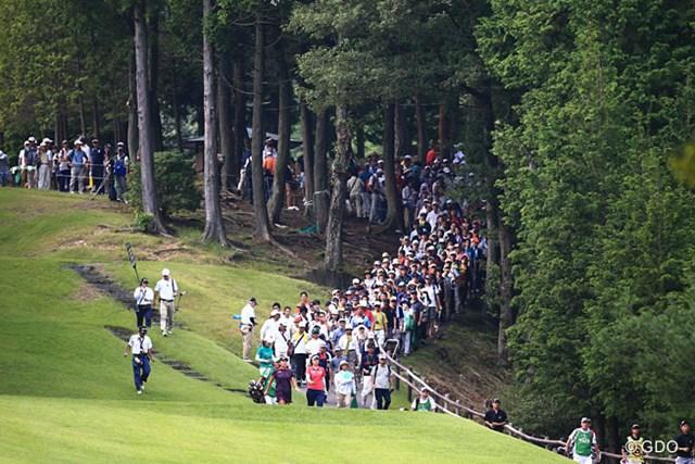 2014年 ゴルフ5レディスプロゴルフトーナメント 2日目 最終組 天候にも恵まれ最終組にはギャラリーも大勢ついて盛り上げてたね