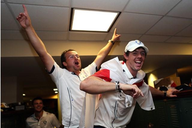 2014年 ライダーカップ 事前 グレーム・マクドウェル ロリー・マキロイ 2012年大会で大逆転勝利を収めた欧州選抜。マクドウェルとマキロイのコンビも雄たけびを上げた(Andrew Redington/Getty images)