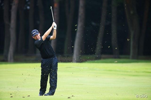2014年 アジアパシフィックオープンゴルフチャンピオンシップ ダイヤモンドカップゴルフ 初日 川村昌弘 ダボのあと、4連続バーディフィニッシュで1オーバー。安堵の表情を見せた川村昌弘