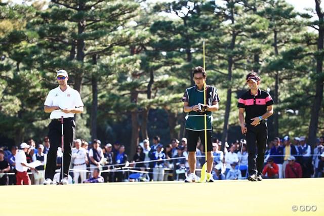 2014年 日本オープンゴルフ選手権競技 3日目 アダム・スコット 塩見好輝 アダムと一緒でいい勉強になったかな?ティショットのときにはあきれて笑ってたもんね