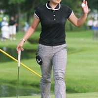 「この芝(洋芝)でゴルフを始めたので、他の選手よりは有利かもしれませんね」と言う、北海道出身の大塚有理子 大塚有理子
