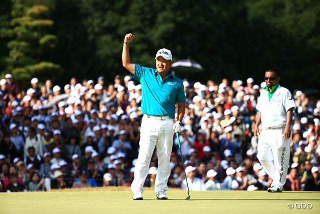 2014年 ブリヂストンオープンゴルフトーナメント 最終日 小田孔明 「10mにも感じた」という1mのウィニングパットを決め、賞金ランクトップ返り咲きを決めた小田孔明