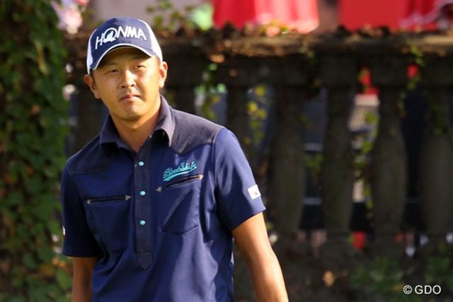 2014年 WGC HSBCチャンピオンズ 事前 岩田寛 決して調子はよくないが、柔らかい表情でWGCに向け練習を続ける岩田