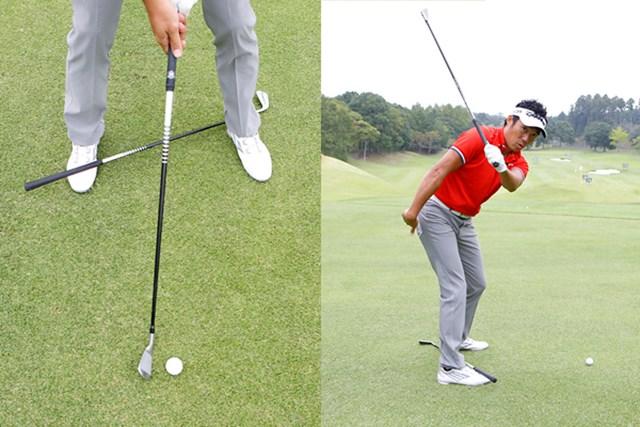右足のツマ先から左足カカトに体重を移動