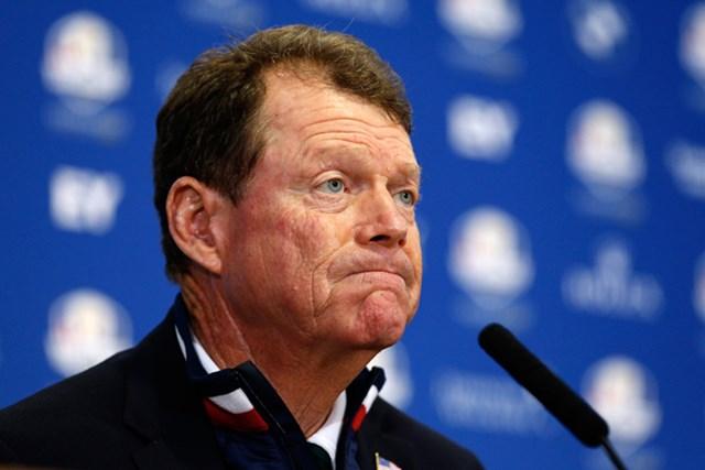 敗れた米国キャプテンのトム・ワトソン。采配について集中砲火を浴びた(Harry Engels/Getty Images)