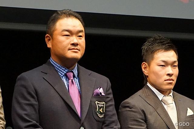 「忙しくて賞金王の実感は噛みしめられていない」と語った小田孔明(左)と、新たに本間ゴルフと契約した藤本佳則