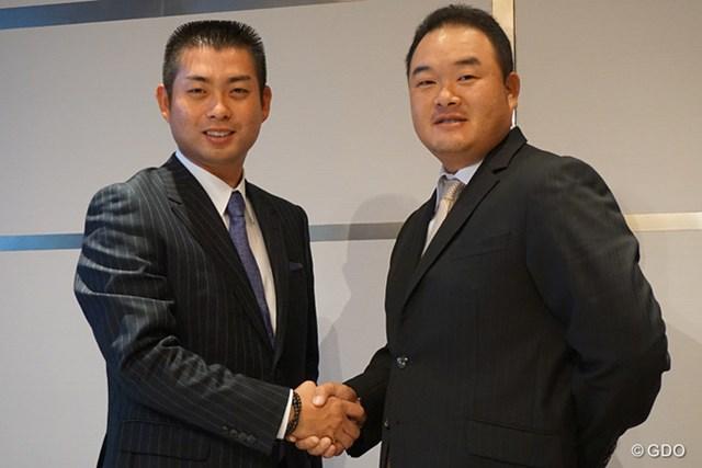 3期目の選手会長に再任された就任する池田勇太(左)とサポートしたいと話す小田孔明
