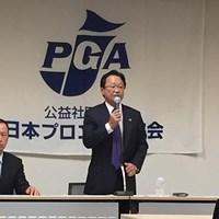 試合数増加の日程発表を行った倉本昌弘PGA会長 2015年 倉本昌弘