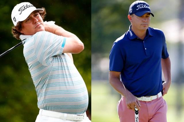 見事な減量成功…左が1年前、右は大会初日のダフナー(Sam Greenwood、Todd Warshaw/Getty Images)