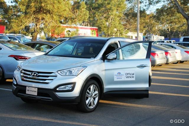 ほとんどの大会で選手の移動用自動車が貸し出される米ツアー。今週はヒュンダイでした