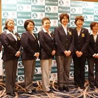 小林浩美会長(右から4番目)、鈴木美重子(5番目)、伊藤佳子(3番目)両副会長ら全8人の理事による新体制が発足した 2015年 ダイキンオーキッドレディス 事前 小林浩美
