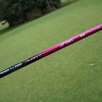 """アンが好きだというピンク色に塗装されたシャフトには""""★アンちゃん★""""というオリジナルロゴが入る 2015年 ダイキンオーキッドレディス 事前 ヨネックスオリジナルシャフト レクシス カイザD プロトタイプ"""