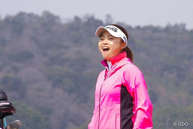 開幕前日のプロアマラウンド中、はじける笑顔を見せたディフェンディングチャンピオンの一ノ瀬優希