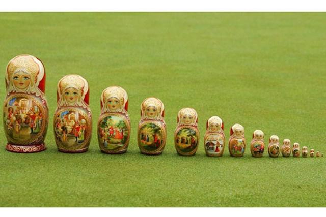 通常のトロフィーの他に、伝統的なマトリョーシカ型のトロフィーが贈られるのは「ロシアオープン」だ。※画像提供:European Tour