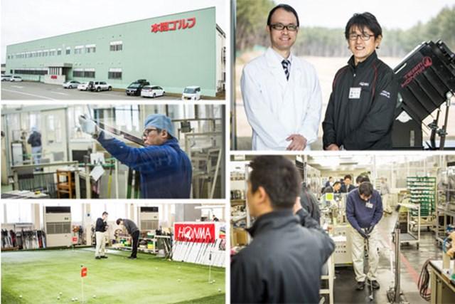 (右上)ゴルフクラブを知り尽くす工場長の諏訪博士さん/(その他)プロ選手レベルのフィッティングを熱意系ゴルファーに提供する酒田工場。中にはパター試打用のグリーンまであった!