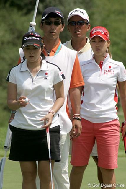 ワールドカップ女子ゴルフ2日目 諸見里しのぶ 上田桃子 ラインを読む4人