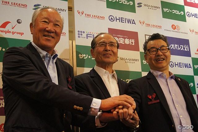 開催決定記者会見に出席した青木功、王貞治氏、日野皓正氏(左から)