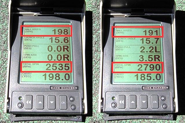 ウエイトの位置を変えてみることに。左が浅重心の設定、右が深重心の設定。比較してみると、一番上の初速が速くなり、下から2番目のバックスピン量が減少して、飛距離が伸びた
