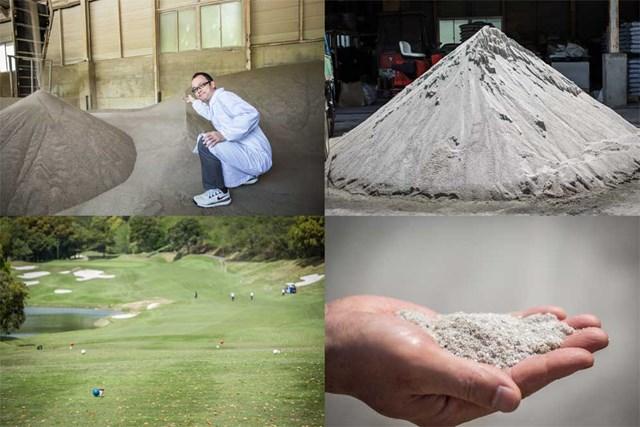 S吉クン11_3章 (左上)他の植物の混入防止のため、機械でグリーン用の砂を焼き、ふるいにかける/(右上)富里GCではバンカー用に愛知産の砂を使用/(左下)ティーインググラウンドはUSGA方式で平らに造成可能に/(右下)粒形が揃っている砂は、サラサラとしていて、握ると「キュッキュッ」と音が鳴る