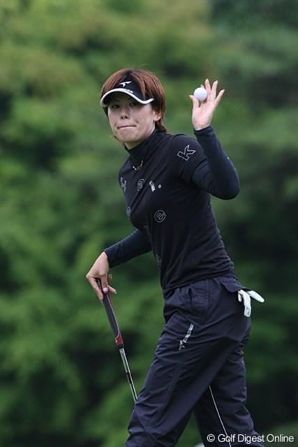 廣済堂レディスゴルフカップ2日目 竹末裕美 明日もがんばります。3位タイの竹末裕美