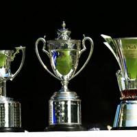こんなデカいカップ、しかも3つも、うちは家に置くところないです。 2015年 日本プロゴルフ選手権大会 日清カップヌードル杯 最終日 優勝カップ