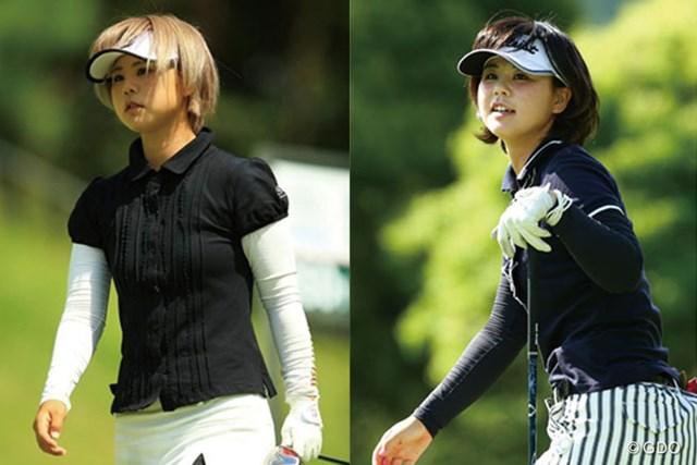 金髪→黒髪にガラリとイメージチェンジした石川陽子(写真左は2014年「日本女子プロゴルフ選手権大会コニカミノルタ杯」、写真右は今大会)