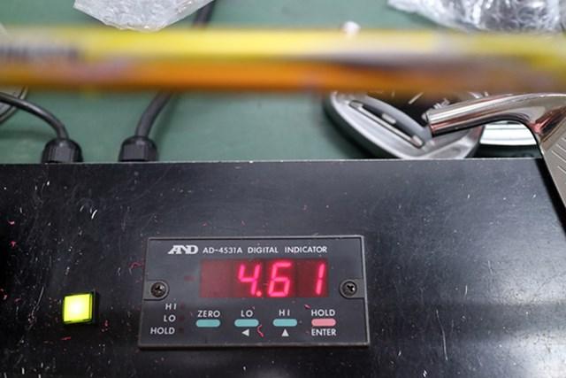 マーク試打 日本シャフト N.S.PRO Regio Formula MB センターフレックス値は4.61と高め。弾き感が楽しめるシャフトだ