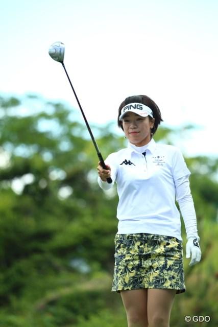 「若手選手から刺激をもらった」という大山志保。この日は満足の「67」で、首位タイで最終日を迎える