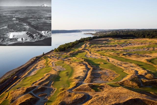 チェンバーズベイの空撮と、左上は全米コースに生まれ変わる前の1963年頃の現場写真(遠方にレーニア山を臨む)。(米GolfDigest誌)