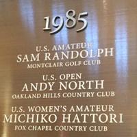 ニュージャージー州にあるゴルフ博物館には、1985年の全米女子アマを制した服部道子の名前が刻まれている*アンディ―和田 2015年 ゴルフ博物館 服部道子