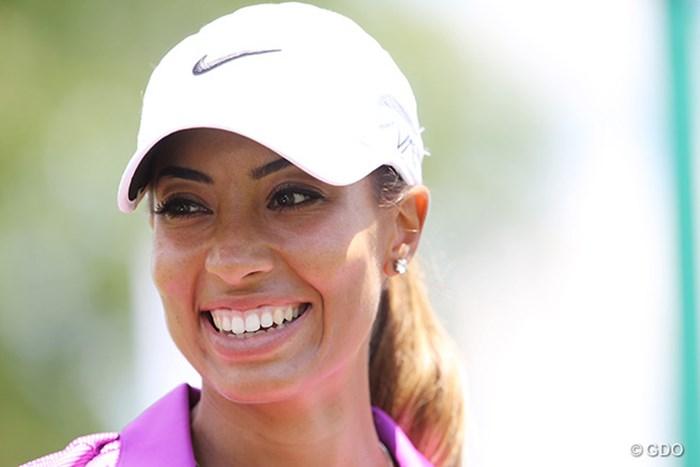 練習後に笑顔をみせるシャイアン・ウッズ 2015年 KPMG女子PGA選手権 事前 シャイアン・ウッズ