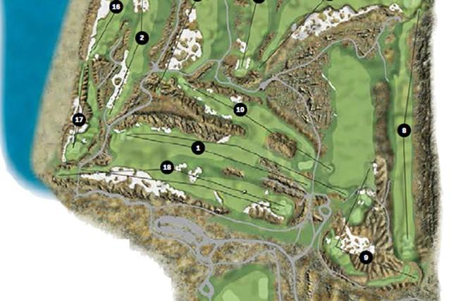 隣接する1番と18番。その日によって、パー4とパー5が交互に入れ替わる予定だ。(米GolfDigest誌)