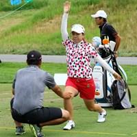 練習ラウンドはせず、練習場で練習。「ストレッチ兼トレーニング」という運動から始めた 2015年 全米女子オープン 事前 宮里美香
