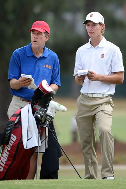 昨年の「全米オープン」では、著名な実業家で父のスコットがマーベリックのキャディとして帯同した(Ross Kinnaird/Getty Images)