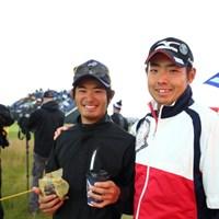 予選落ちしちゃったから勉強しに来ましたーって。 2015年 全英オープン 4日目 富村真治&キャディ