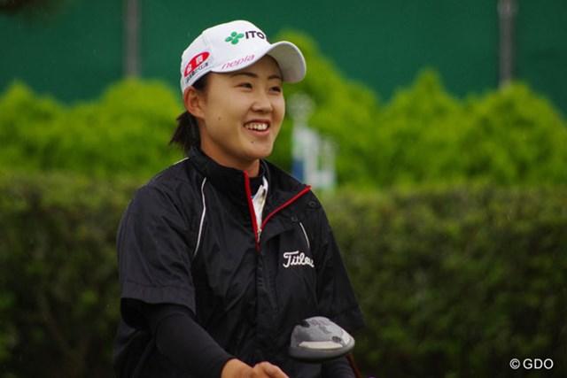 リラックスムードで練習ラウンドに臨んだ前田陽子 2勝目で心の余裕も生まれた!?