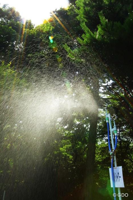 熱中症対策で各所に置かれたミストシャワー。今日はその効果もないぐらい暑かったですね。 2015年 センチュリー21レディス 最終日 ミストシャワー