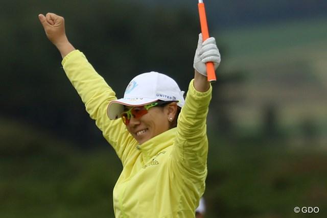 14番でイーグルを決めて喜ぶ宮里美香。久々のメジャーでの優勝争いは7位に終わった