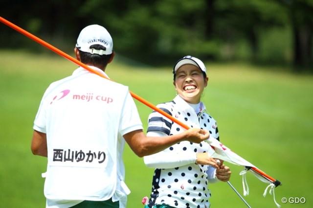 2015年 meijiカップ 初日 西山ゆかり 芹沢師匠にいい雰囲気でプレイさせてもらってるね。