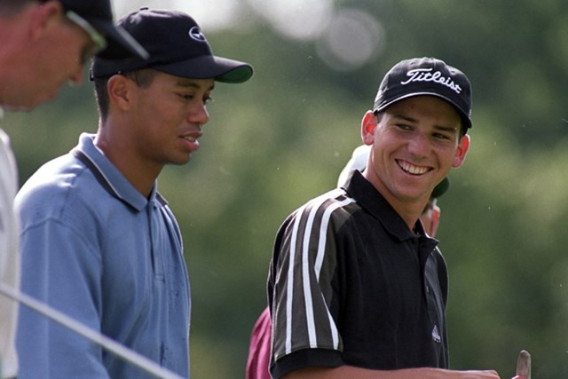 1999年 全米プロゴルフ選手権 タイガー・ウッズ&セルヒオ・ガルシア 23歳のウッズと19歳のガルシア。軍配はウッズにあがった(Craig Jones/Getty Images)