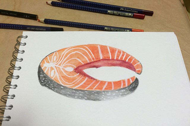 作品その2 なぜに鮭? (提供:テレサ・ルー)