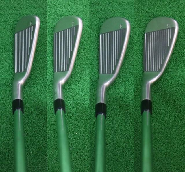 (画像 2枚目) ピン i アイアン マーク試打 左から6番、7番、8番、9番のヘッド形状。プロ使用モデルの割にヘッドサイズは大きめで、構えたときに安心感がある